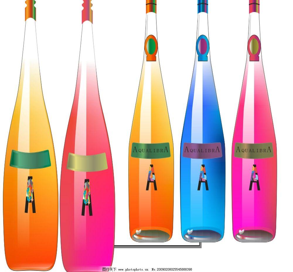 彩色玻璃瓶 彩色 玻璃瓶 酒瓶 矢量 其他矢量 矢量素材 矢量图库 cdr