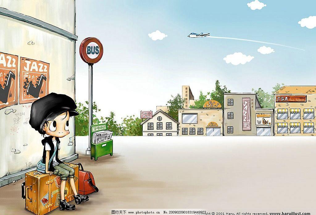 韩国haru可爱插画 韩国可爱儿童插画 儿童 插画 男孩 寂寞 落寞 流浪