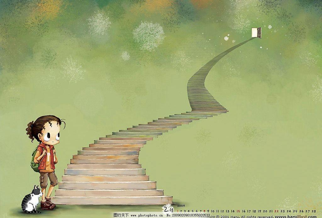 韩国haru可爱插画 韩国可爱儿童插画 儿童 插画 女孩 寂寞 落寞 流浪