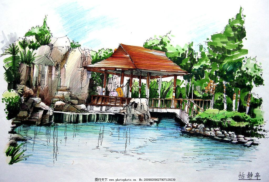 佳倩手绘效果图园林绿化 室外设计 手绘图 小桥流水 凉亭 外景