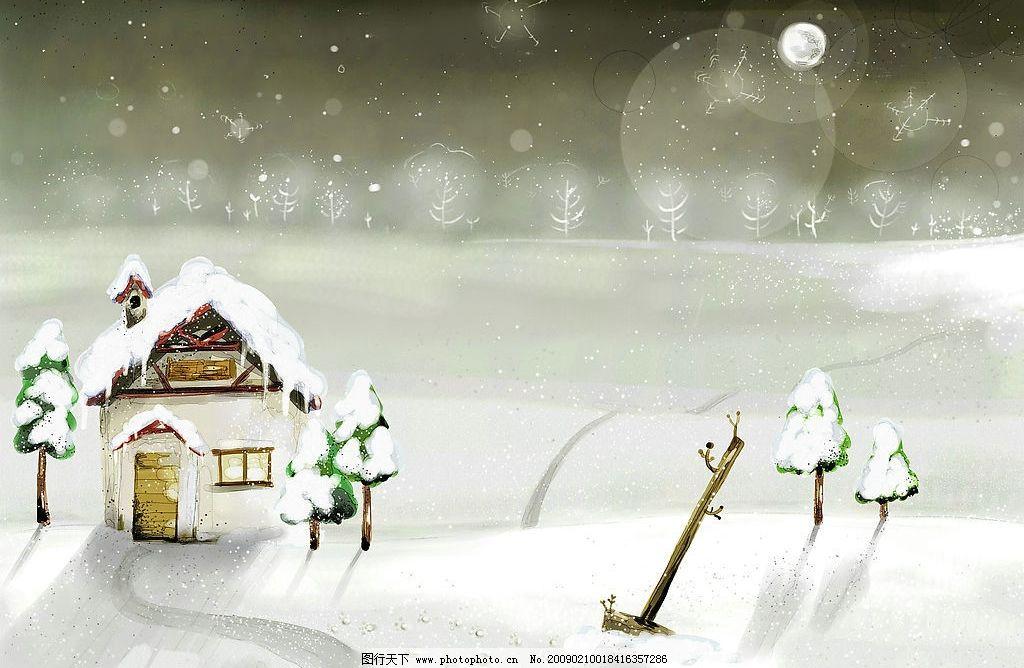 冬之雪05 高清晰图片 卡通素材 天空 飘雪 雪地 树林 房子 动漫动画