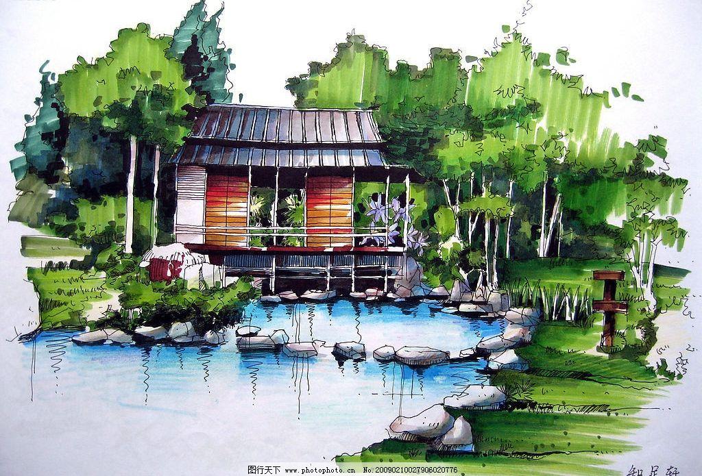 佳倩手绘效果图园林绿化 室外设计 园林绿化        手绘图 小桥流水