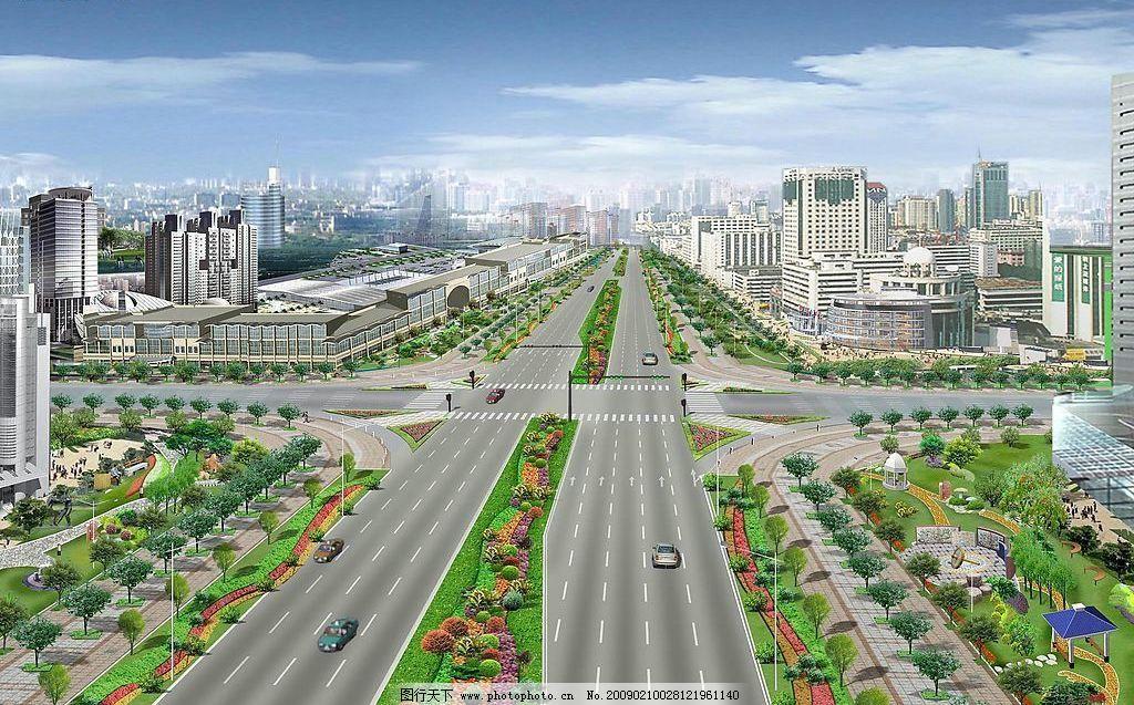 建筑 天空 透视图 环境设计 设计图 园林 汽车 房子 街道 大街 景观