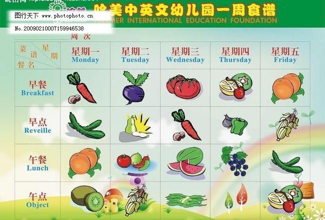 表格 彩虹 草地 创意设计      花 幼儿园食谱矢量素材 幼儿园食谱