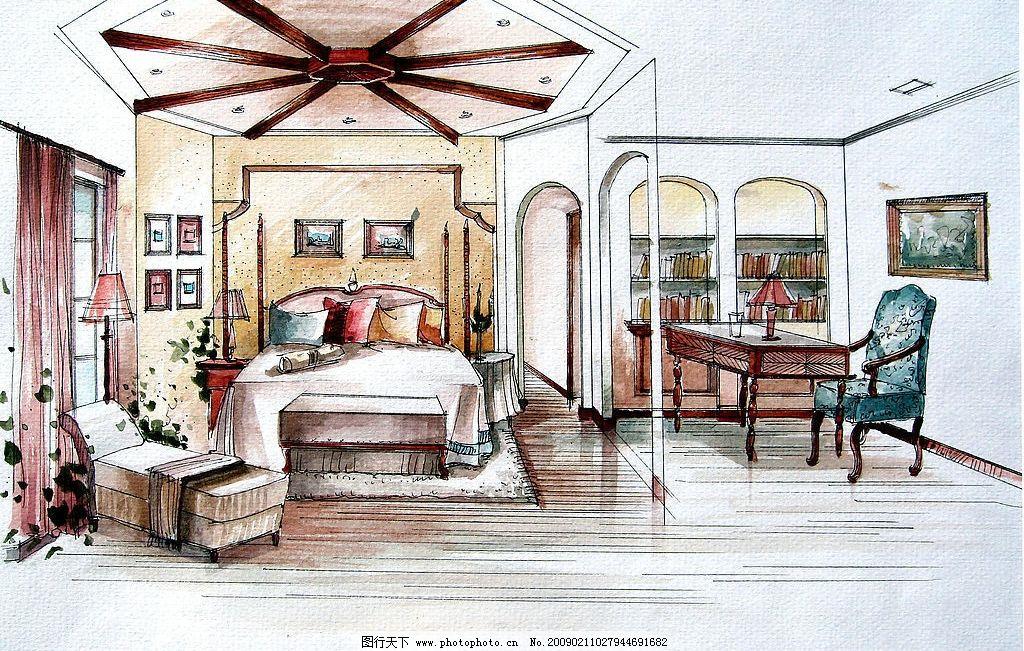 李佳倩手绘效果图室内外设计图片