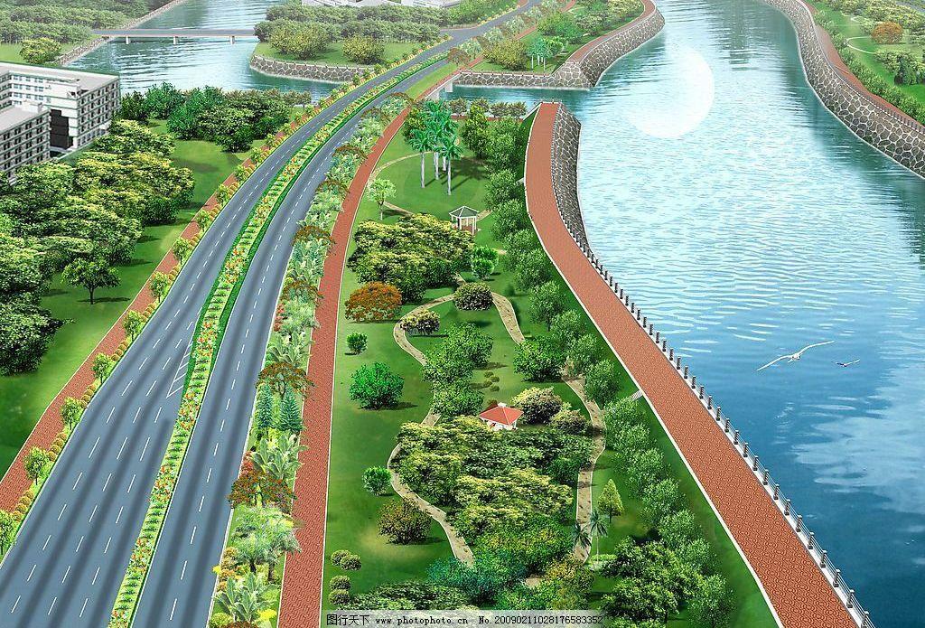 透视图 环境设计 设计图 园林 汽车 绿化 高速公路 河流 桥 景观设计