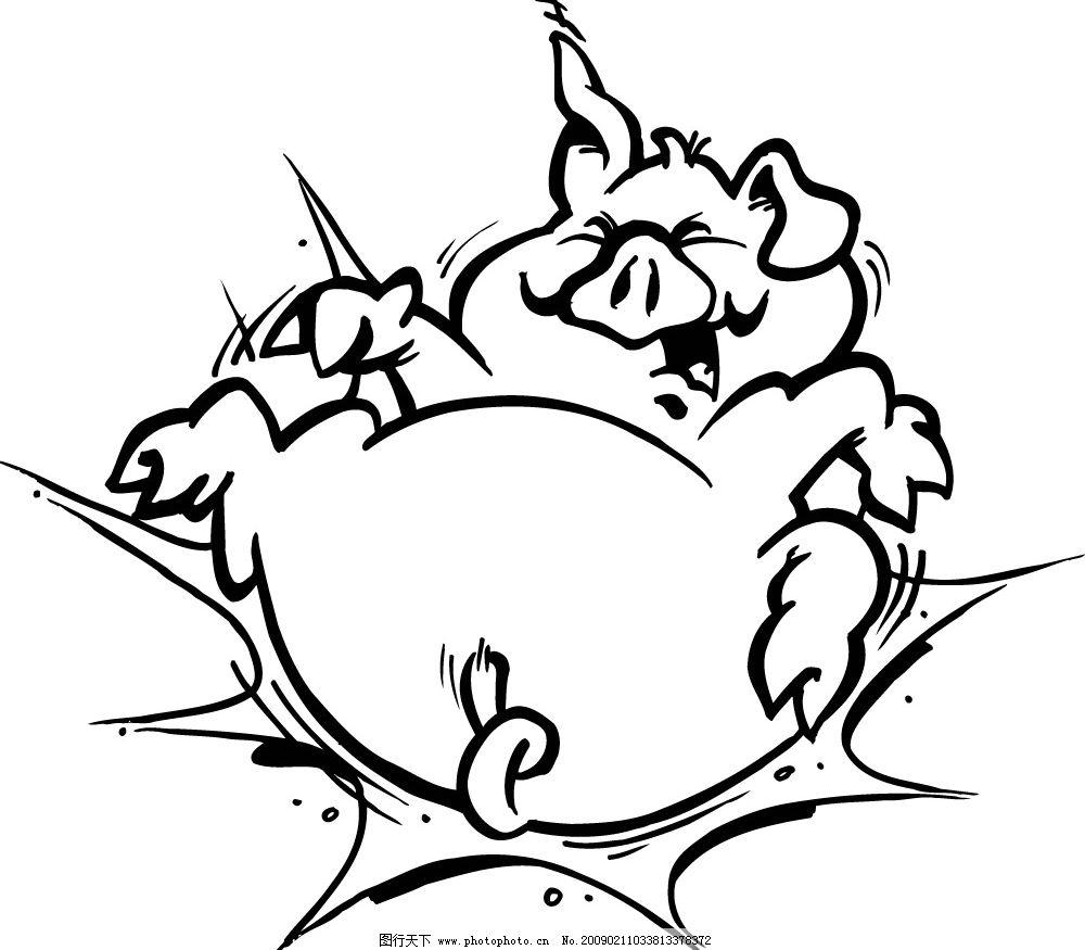 50款黑白卡通动物形象 摔倒的猪 幽冥神视工厂 矢量图 其他矢量 矢量