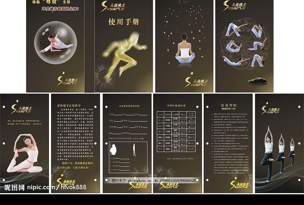健身会所价格表 瑜伽 花纹 运动 线条 矢量图库