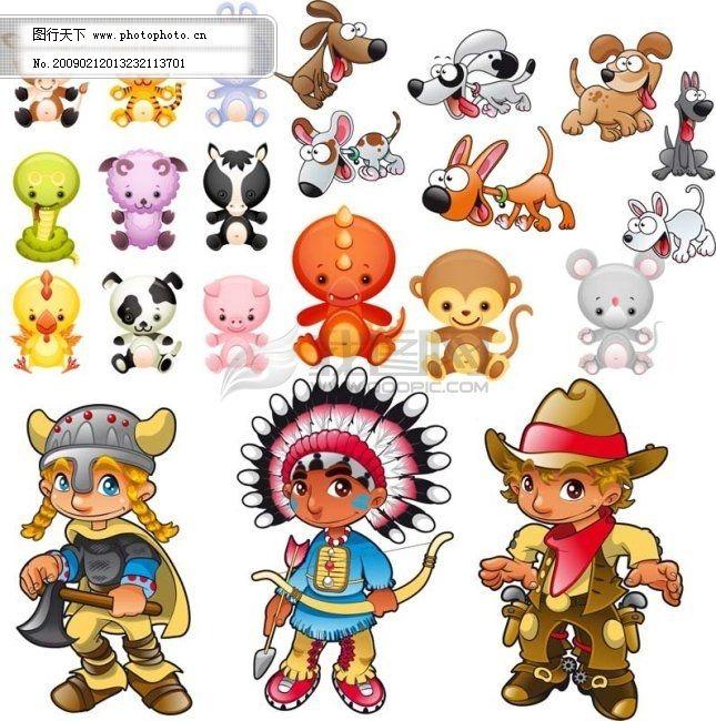 猴 虎 鸡 角色 节日 卡通 可爱 矢量十二生肖 鼠 牛 虎 兔 龙 蛇 马