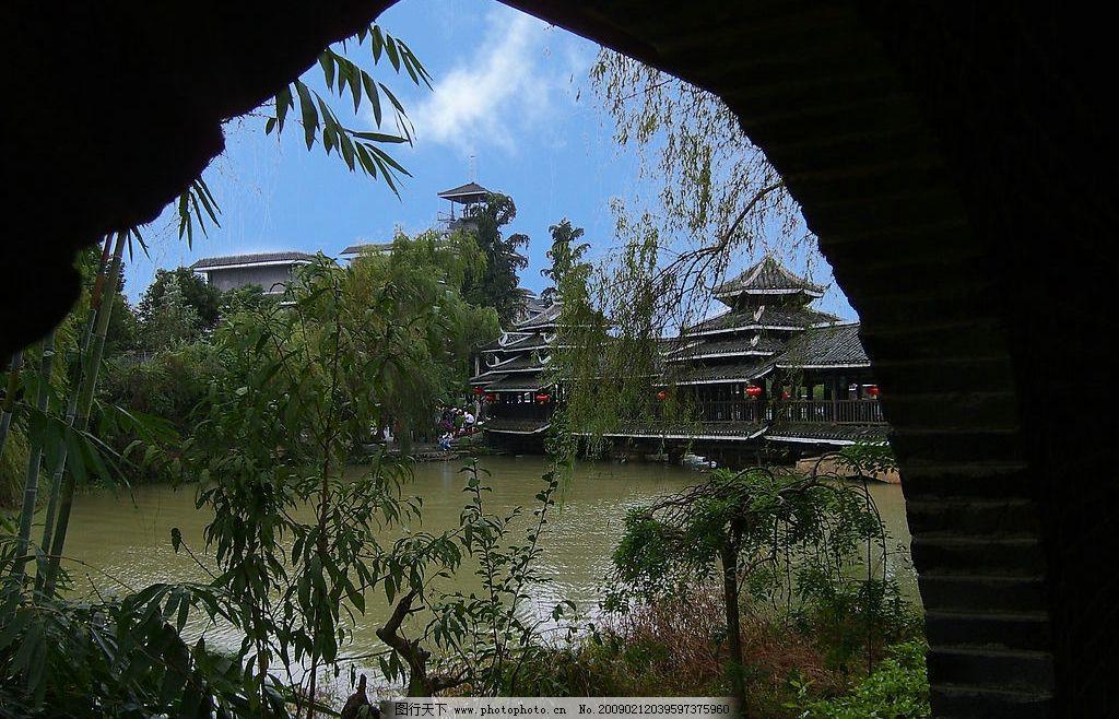 世外桃源景区组照之十四 桂林 世外桃源景区 透过花窗看风景 侗族风格