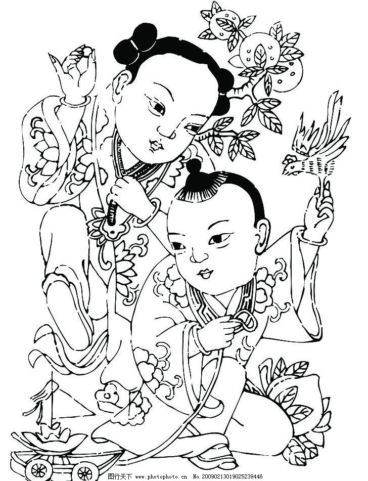 国画人物图案 年画 国画 人物 图案 白描 文化艺术 绘画书法 设计图库