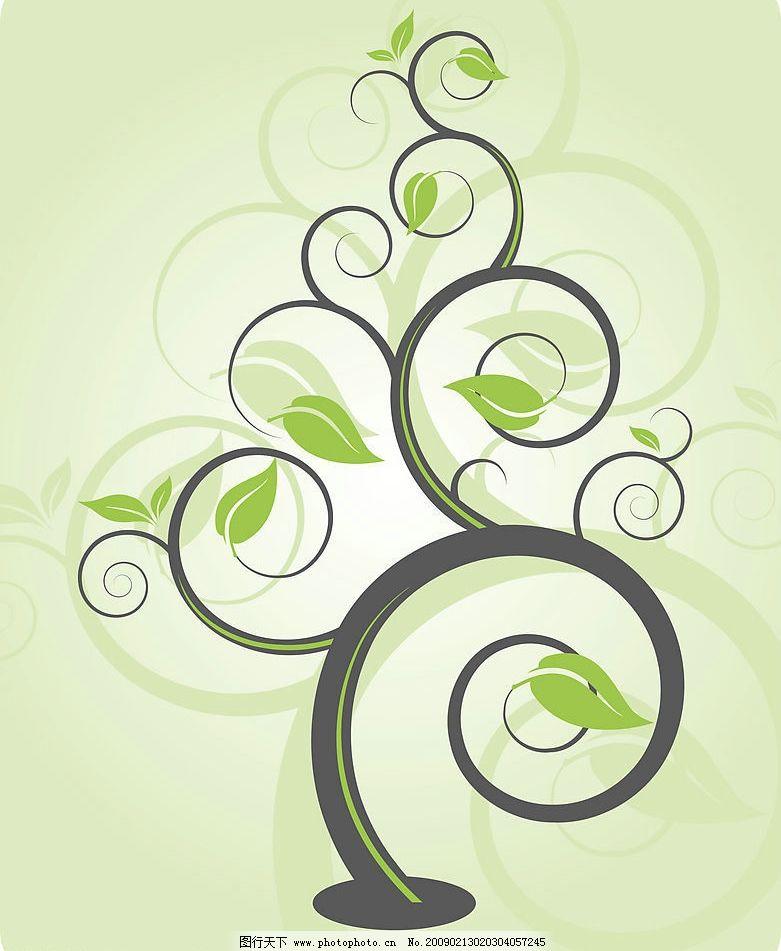 树枝花纹 花纹 边框 树木 叶子 树形花纹 底纹边框 花边花纹 设计图库