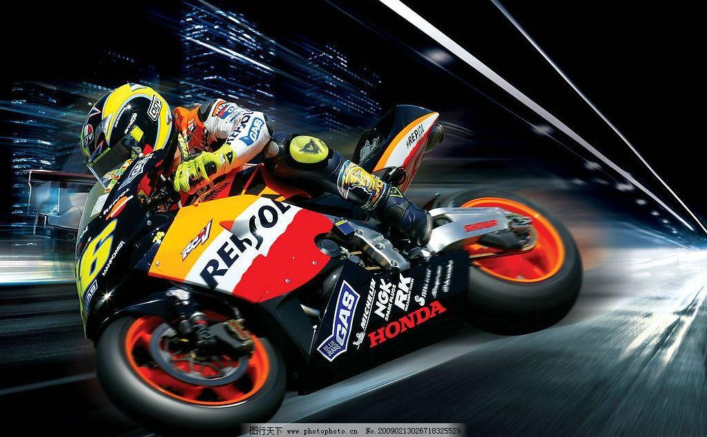 摩托车 赛车 本田摩托 赛车手 飞驰 速度 城市夜景 高速公路