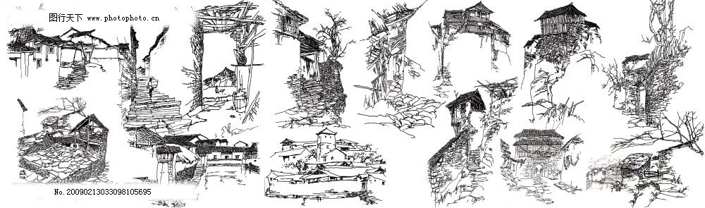 白描扣图合成 白描 古画 山水 风景 线条画 背景 黑白 psd分层素材 源