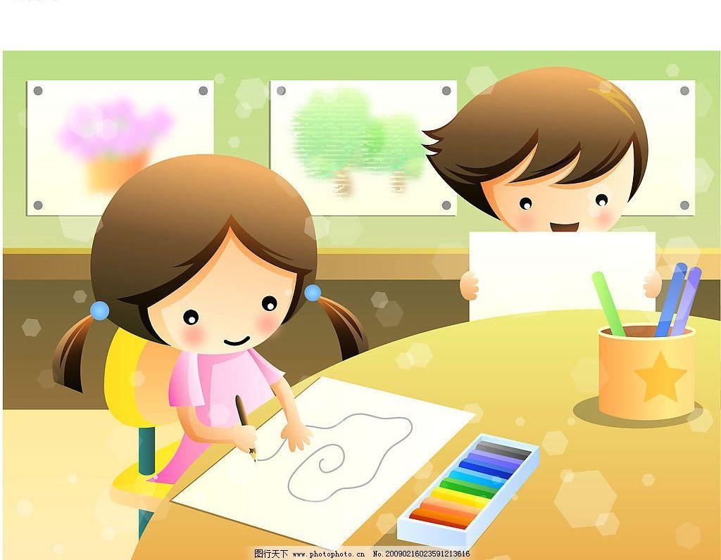 画画儿童 画画 儿童 矢量人物 儿童幼儿 矢量图库 ai