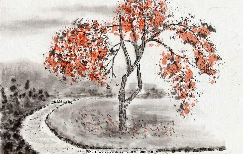 水墨画 自然 风景 中国风 浪漫 红色枫叶 落叶 中国 国画 文化艺术