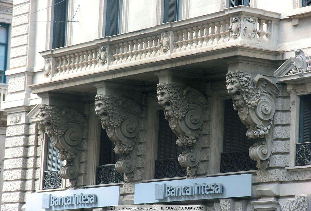 狮头浮雕 立体建筑 意大利米兰 旅游摄影 国外旅游 摄影图库 300dpi