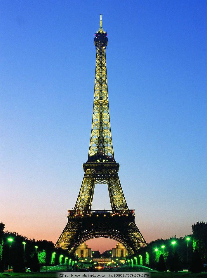 巴黎铁塔 法国名胜 傍晚的巴黎铁塔 建筑园林 建筑摄影 摄影图库