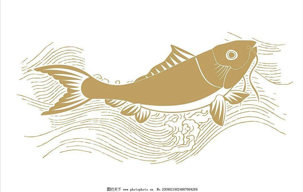 矢量鲤鱼越水 水流 水纹 矢量图库