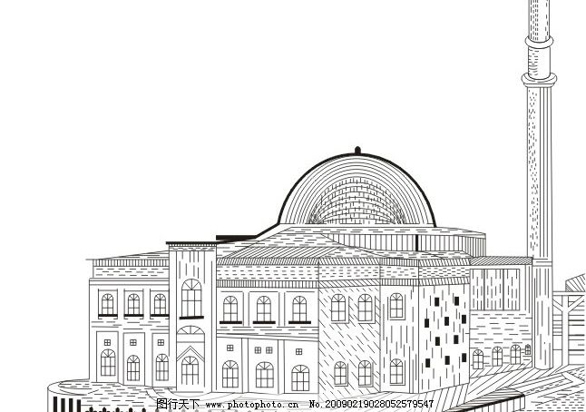 国外古建筑 线描 建筑家居 传统建筑 矢量图库