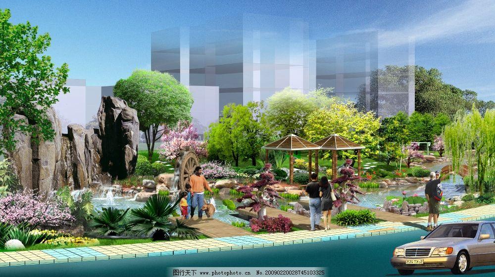 小区水景景观效果图图片