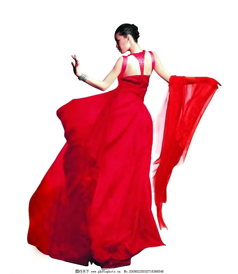 女人美女红衣女图片
