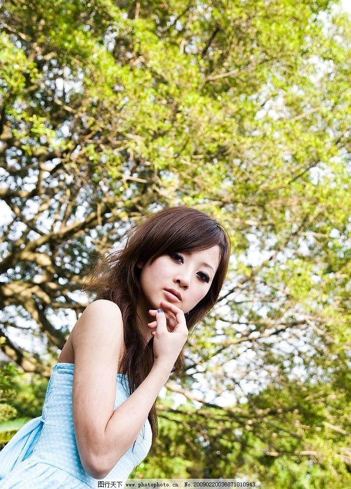台湾网络人气美女果子mm清凉淡蓝夏装图片