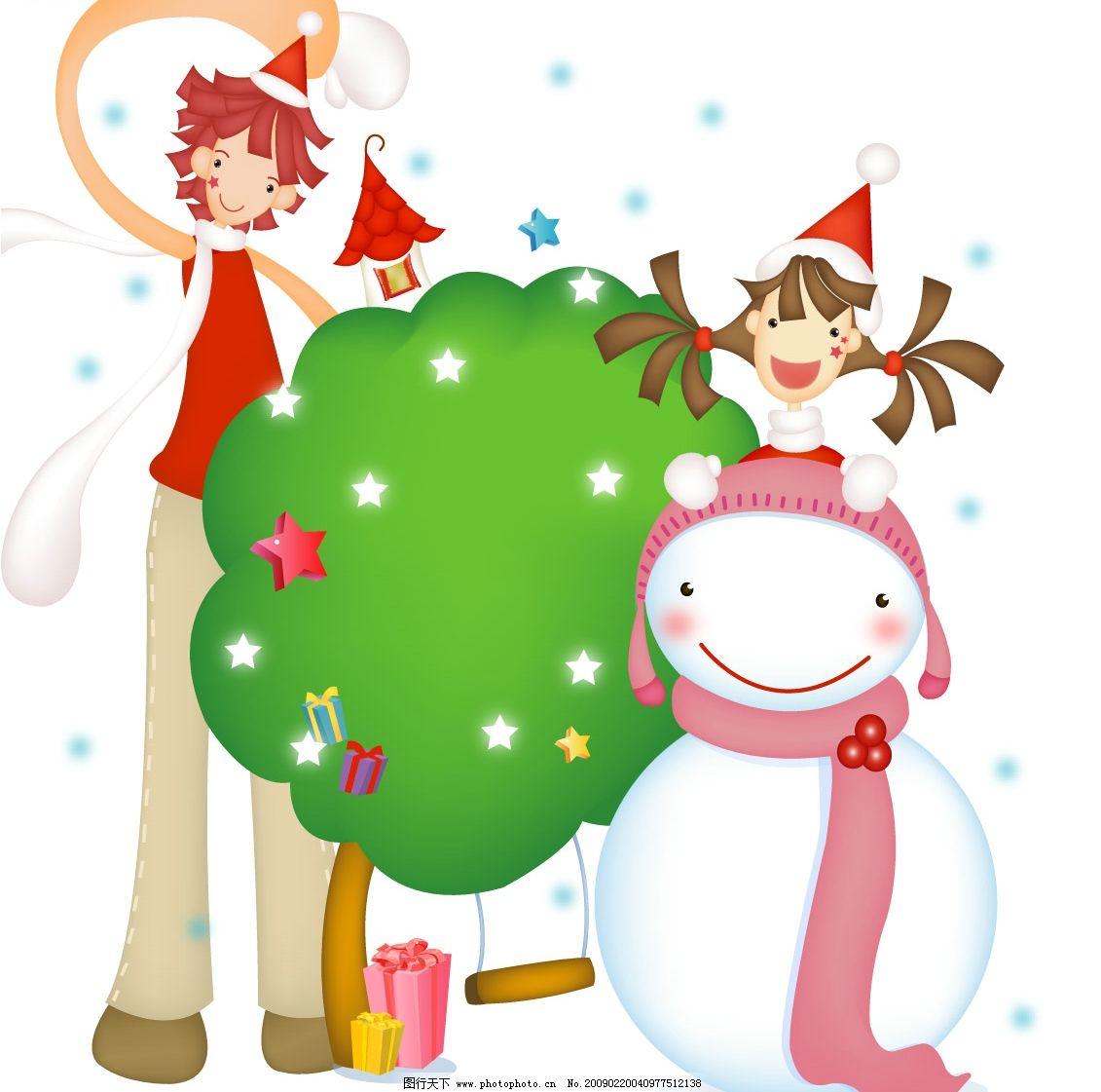 小树和雪人图片
