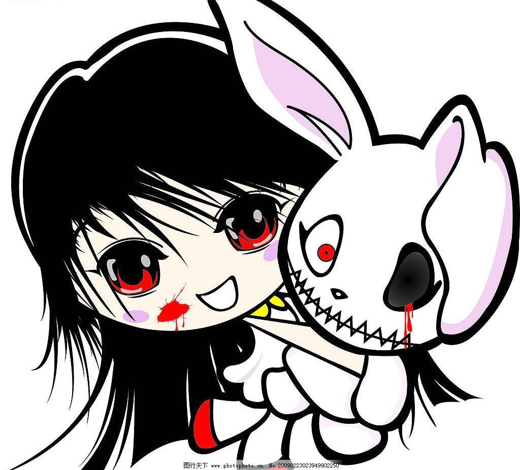 恐怖女孩 万圣节 兔子 血腥 卡通 矢量人物 其他人物 矢量图库