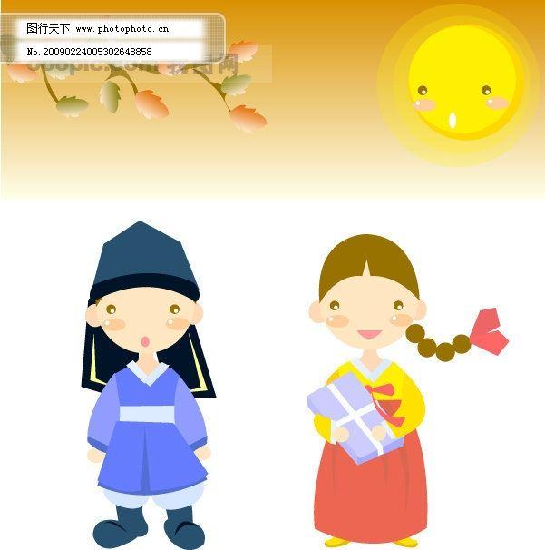 韩国的小女孩小男孩-q版