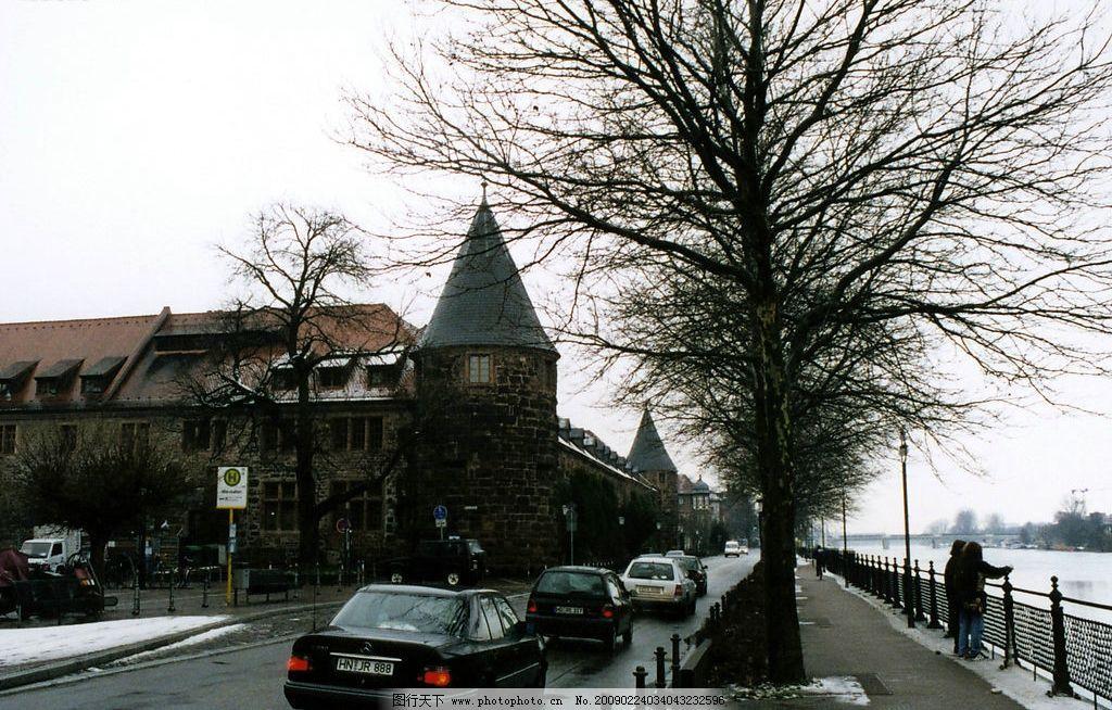 欧式风情 欧洲 建筑 房子 路树 人 车子 河 雪地 桥 旅游摄影 国外