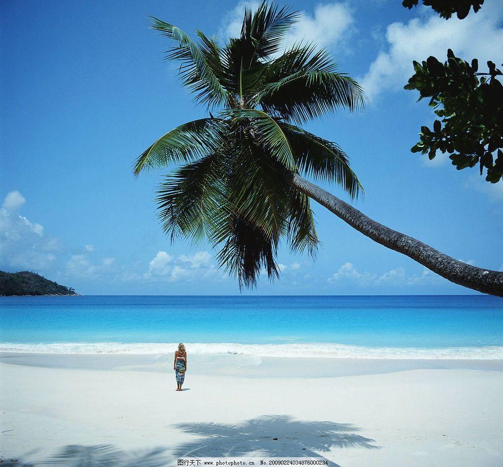 夏日风情 蓝天白云 大海沙滩 椰林 自然景观 自然风景 摄影图库 300