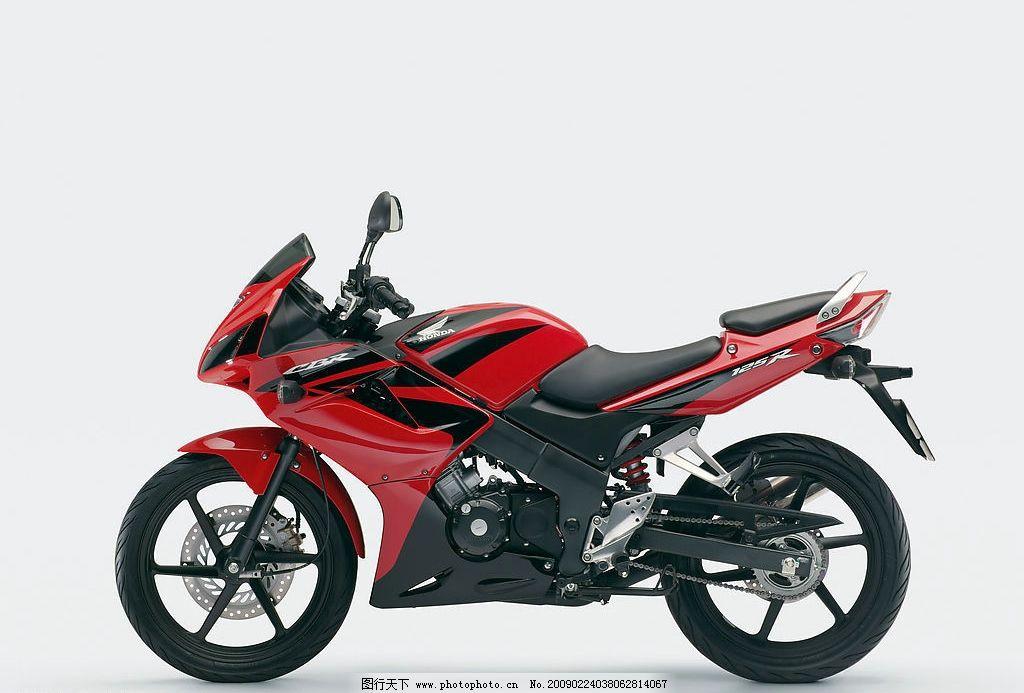 摩托车 改装车 赛车 跑车 本田摩托 摩托效果图 红色摩托 交通工具