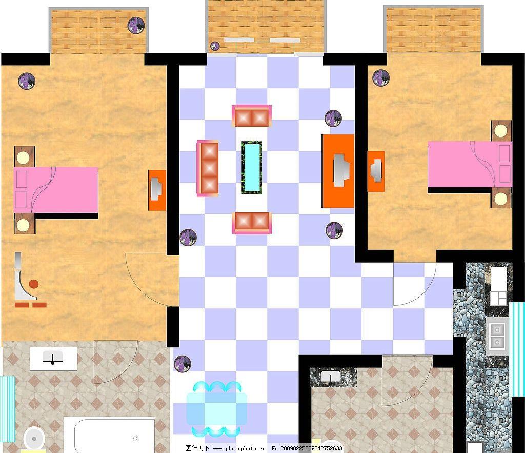 室内平面图 室内平面效果图 建筑家居 其他 矢量图库 cdr