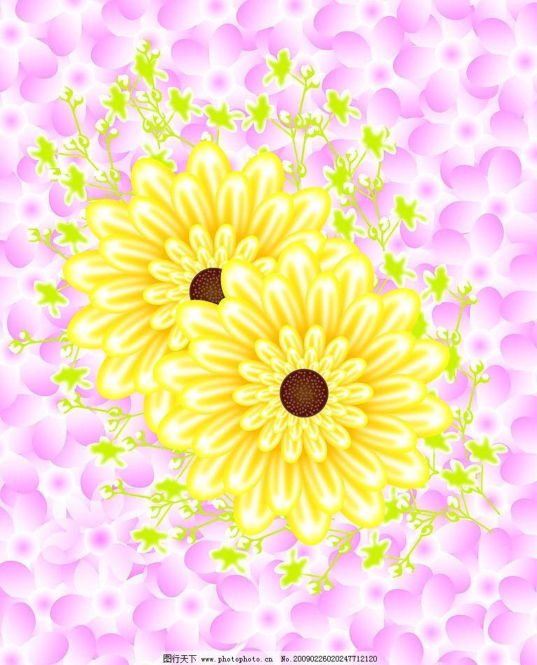 向阳花 黄色 粉色 花朵 移门 叶子 背景 底纹边框 背景底纹 设计图库