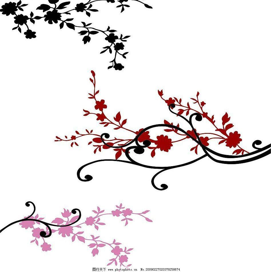 梅花线条 梅花 线条 枝 底纹 叶 移门 底纹边框 花边花纹 设计图库 72