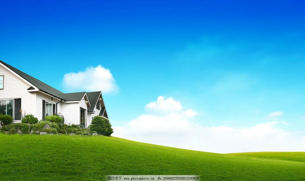 郊外的别墅 蓝天 天空 白云 别墅 小屋 青草 绿地 风景 自然景观 自然