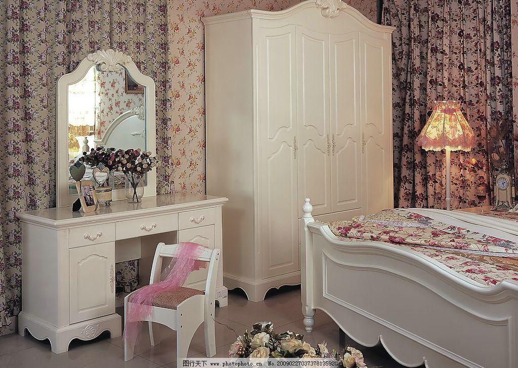 家具 家居 欧式 衣柜 梳妆台 镜子 床 壁纸 地板 丝巾 板凳