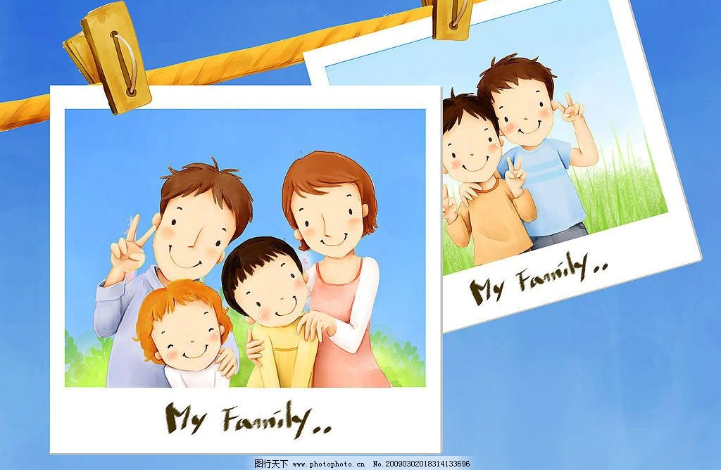 幸福家庭 卡通素材 高清晰图片 蓝色背景 照片 幸福的一家人 兄弟俩