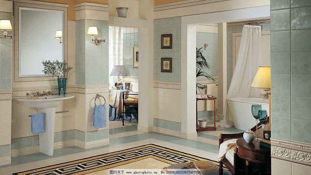 欧式风格室内 卫浴 浴缸 洗手台 地毯 室内效果 瓷砖铺贴 建筑园林