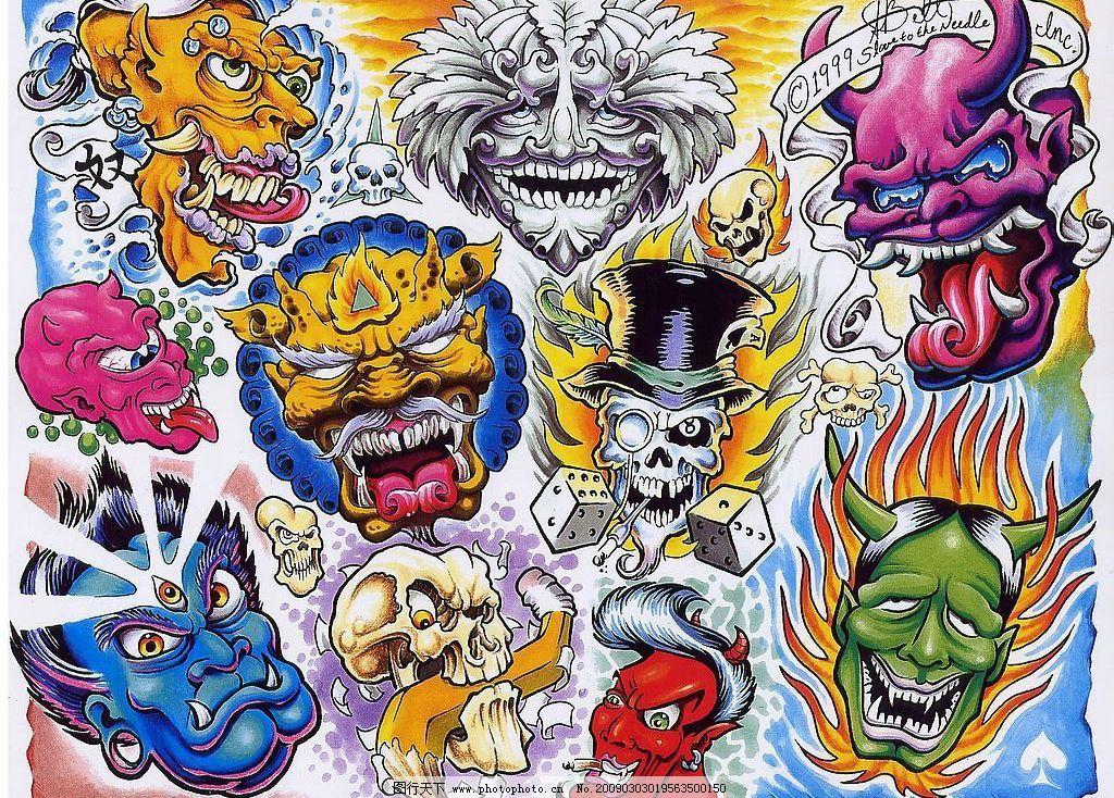 纹身图案设计 纹身 图案 底纹 奇怪 创意 魔头 魔鬼 骷髅 恐怖 骰子
