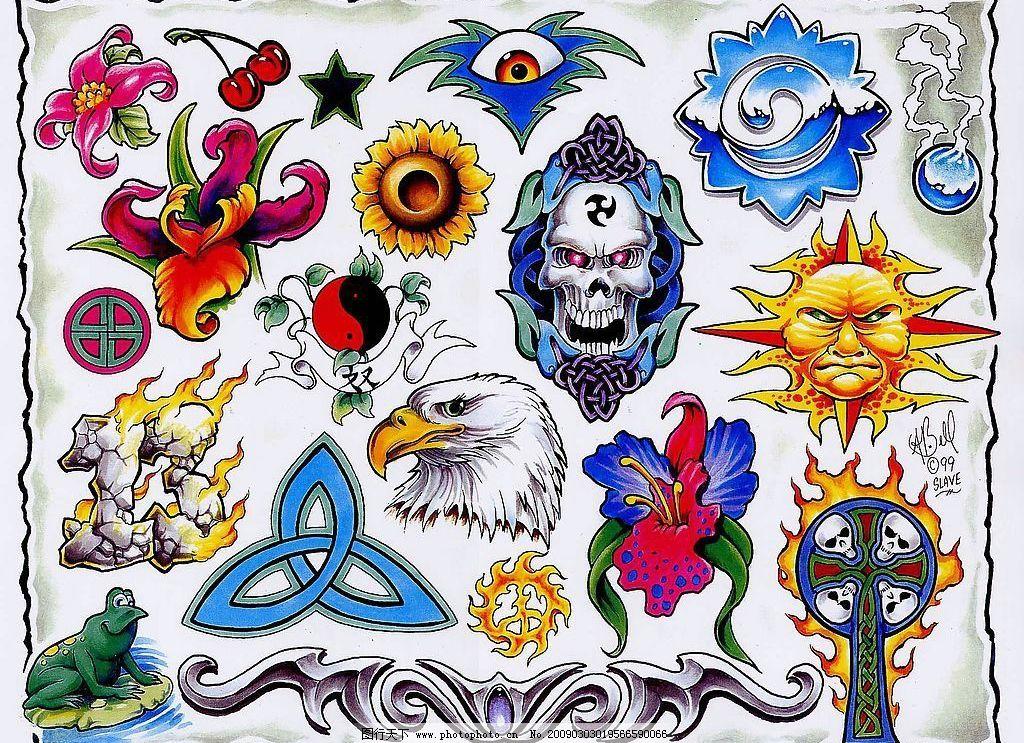 魔头 魔鬼 骷髅 花朵 樱桃 星形 太阳 鹰 火 文化艺术 其他 各种纹身