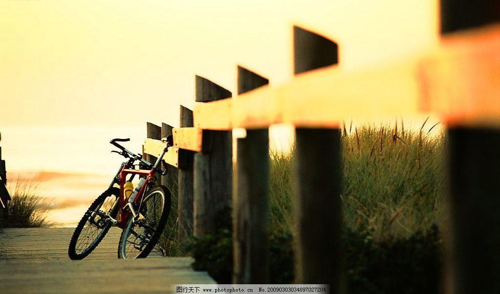 河边 自行车      步道 自然景观 自然风景 摄影图库 300dpi jpg