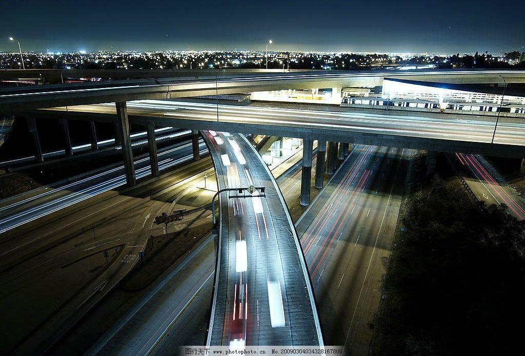 城市夜景图片,急驰的汽车 灯光明月 城市道路 公路-图
