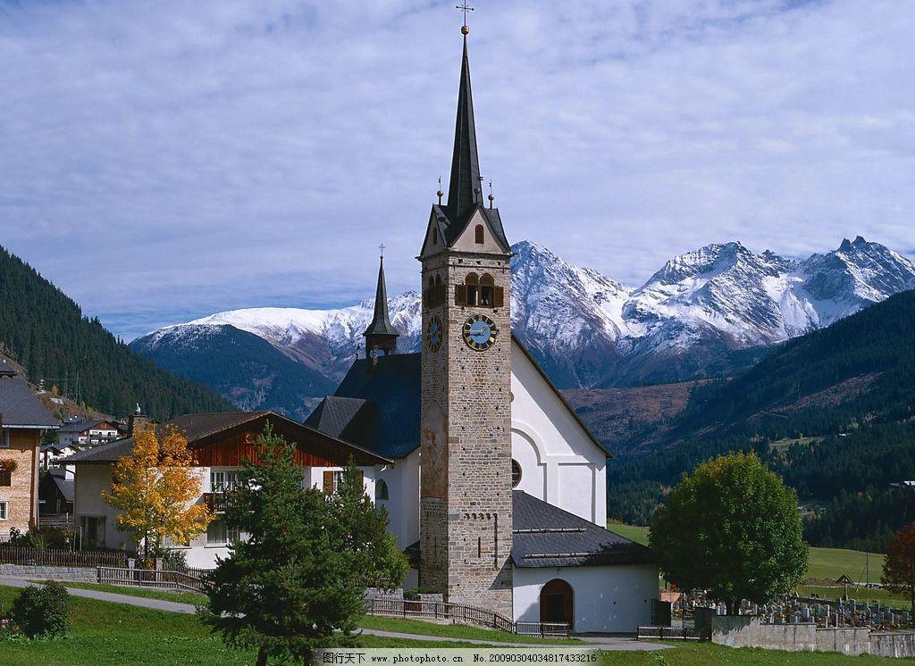 教堂 建筑 蓝天 雪山 自然景观 自然风景 摄影图库 jpg 350dpi 欧洲