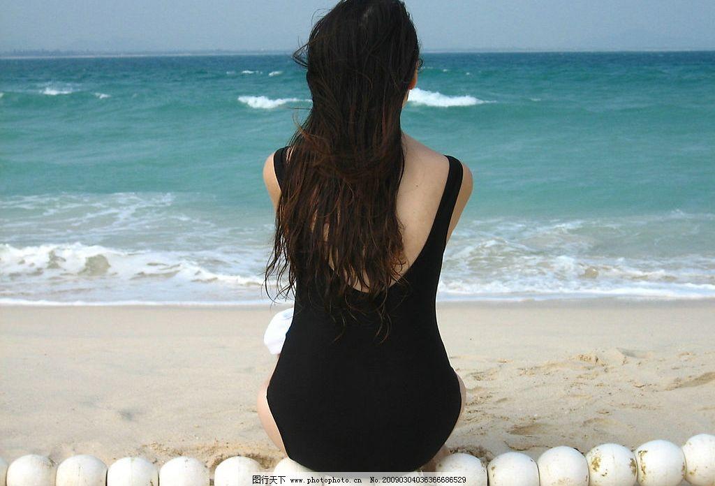海边美女 美女 海边 大海 背