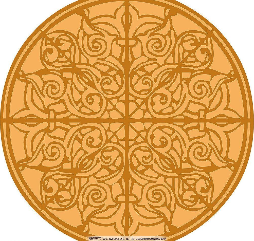 圆形花纹图案 花纹花边 矢量图库