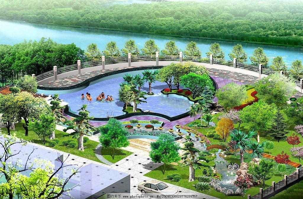 別墅景觀綠化效果圖 別墅 園林 水池 綠化 風景        環境設計 園林