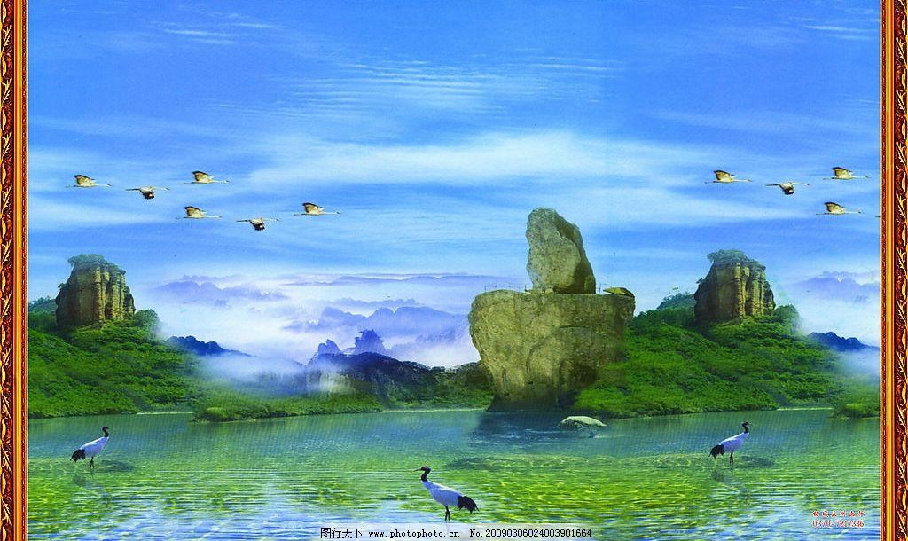 自然风光 鸟 山水 风景 壁画 自然景观 设计图库 15dpi jpg