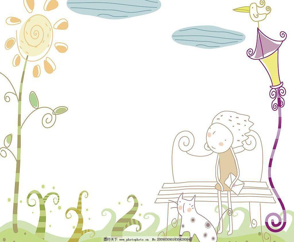 酷仔等爱 小鸟 路灯 晴天 蓝天 白云 草坪 坐凳 小猫 自然景物 生物